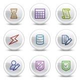 Los iconos del color del Web de la base de datos, el círculo blanco abotonan Fotografía de archivo