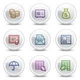 Los iconos del color del Web de las actividades bancarias, el círculo blanco abotonan Foto de archivo libre de regalías