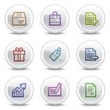 Los iconos del color del Web de las compras, el círculo blanco abotonan Foto de archivo libre de regalías