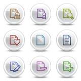 Los iconos del color del Web del documento fijaron 2, botones del círculo Fotografía de archivo