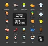 Los iconos del color fijaron en el estilo isométrico plano del ejemplo, colección del vector Imagenes de archivo