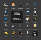 Los iconos del color fijaron en el estilo isométrico plano del ejemplo, colección del vector Fotos de archivo libres de regalías