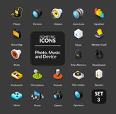 Los iconos del color fijaron en el estilo isométrico plano del ejemplo, colección del vector Imagen de archivo