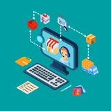 Los iconos del comercio electrónico de las compras fijaron isométrico Foto de archivo libre de regalías