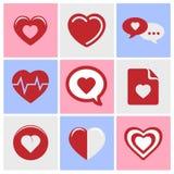 Los iconos del corazón fijaron grande para cualquier uso Vector eps10 Imágenes de archivo libres de regalías