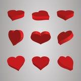 Los iconos del corazón fijaron, ideal para el día de tarjetas del día de San Valentín y la boda Fotos de archivo