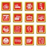 Los iconos del crédito del préstamo fijaron vector del cuadrado rojo stock de ilustración