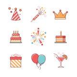 Los iconos del cumpleaños enrarecen la línea sistema Foto de archivo libre de regalías