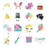 Los iconos del día de fiesta y del partido fijaron con los globos coloridos Imágenes de archivo libres de regalías