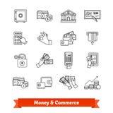Los iconos del dinero y del comercio enrarecen la línea sistema libre illustration
