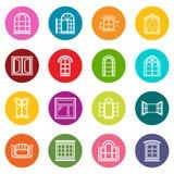 Los iconos del diseño de la ventana fijaron vector colorido de los círculos libre illustration