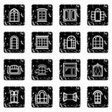 Los iconos del diseño de la ventana fijaron vector del grunge stock de ilustración