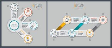 Los iconos del diseño y del márketing del infographics de la cronología se pueden utilizar para la disposición del flujo de traba libre illustration