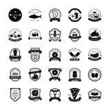 Los iconos del emblema de la comida embalan stock de ilustración