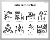 Los iconos del empresario alinean el paquete stock de ilustración