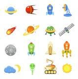 Los iconos del espacio fijaron del UFO del planeta de la galaxia del cohete Fotografía de archivo libre de regalías