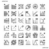 Los iconos del esquema de los diagramas de cartas perfeccionan el pixel ilustración del vector