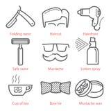 Los iconos del esquema del vector fijaron con el equipo y accesorios del peluquero Foto de archivo