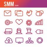 Los iconos del esquema del vector del icono del negocio de Internet fijados del márketing y de la compañía trabajan Foto de archivo