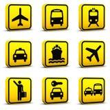 Los iconos del estilo del aeropuerto fijaron 01 Imagen de archivo libre de regalías