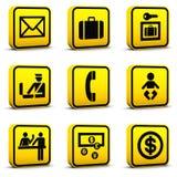 Los iconos del estilo del aeropuerto fijaron 05 Imágenes de archivo libres de regalías