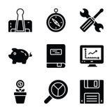 Los iconos del Glyph de las finanzas y del negocio embalan ilustración del vector