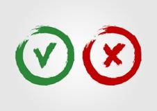 Los iconos del Grunge hicieron tictac y cruz El símbolo verde es aprobado y la muestra roja de X stock de ilustración