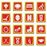 Los iconos del hockey fijaron vector del cuadrado rojo Foto de archivo libre de regalías