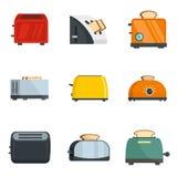 Los iconos del horno del pan de la cocina de la tostadora fijaron, estilo plano stock de ilustración