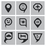 Los iconos del indicador del mapa del negro del vector fijaron el web y el móvil Fotografía de archivo libre de regalías