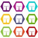 Los iconos del liposuction de las nalgas fijaron el vector 9 stock de ilustración