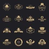 Los iconos del logotipo del sombrero del tocado fijaron, estilo simple ilustración del vector
