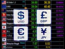 Los iconos del mundo firman el tipo de cambio de moneda en verraco del indicador digital Imágenes de archivo libres de regalías