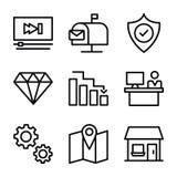 Los iconos del negocio y de las finanzas lían ilustración del vector