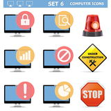 Los iconos del ordenador de vector fijaron 6 Imagen de archivo libre de regalías