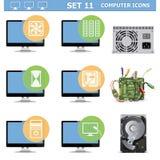Los iconos del ordenador de vector fijaron 11 Imágenes de archivo libres de regalías