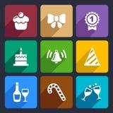 Los iconos del partido y de la celebración fijaron 30 Imágenes de archivo libres de regalías