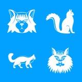 Los iconos del perfil del gato de mapache de Maine fijaron, estilo simple stock de ilustración