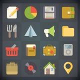 Los iconos del plano universal para el Web y el móvil fijaron 4 stock de ilustración