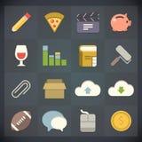 Los iconos del plano universal para el Web y el móvil fijaron 5 stock de ilustración