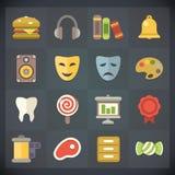 Los iconos del plano universal para el Web y el móvil fijaron 10 stock de ilustración