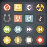Los iconos del plano universal para el web y el móvil fijaron 15 stock de ilustración