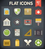 Los iconos del plano universal para el Web y el móvil fijaron 17 Fotografía de archivo libre de regalías