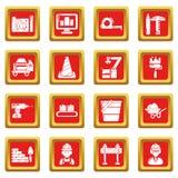 Los iconos del proceso de construcción fijaron vector del cuadrado rojo Fotos de archivo