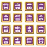 Los iconos del quiosco de la comida de la calle fijaron vector cuadrado púrpura stock de ilustración