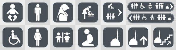 Los iconos del retrete fijaron el wc del lavabo del muchacho o de la muchacha stock de ilustración