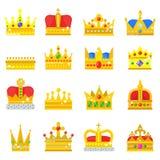 Los iconos del rey de la corona del oro fijaron el ejemplo del vector de la muestra de la joyería del vintage de la colección de  ilustración del vector