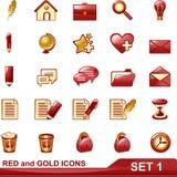 Los iconos del rojo y del oro fijaron 1 Fotografía de archivo
