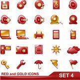 Los iconos del rojo y del oro fijaron 4 Imagenes de archivo