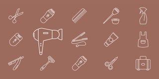 Los iconos del salón de la peluquería - fije el esquema del vector para la web o el móvil 01 libre illustration